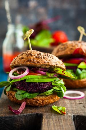 40527968 - veggie beet and quinoa burger with avocado